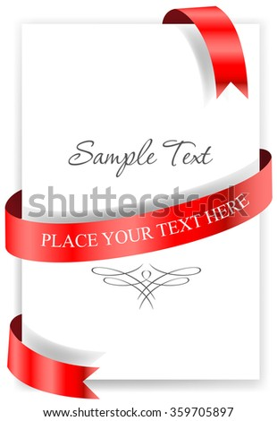Greeting card with a red ribbon.  - stock vector