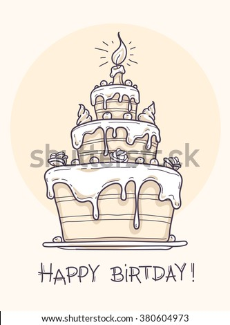 Greeting card with big birthday cake contour drawing. Vector illustration. Transparent objects used for lights and shadows drawing - stock vector