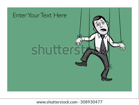 Greeting card with businessman as a pappet - personalize your card with a custom text - stock vector