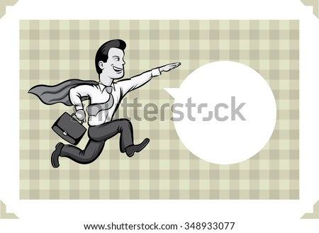 Greeting card with businessman running like a superhero - just add your text - stock vector