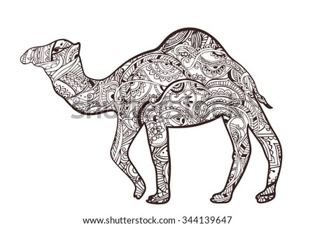 Greeting card with camel. Ornamemtal of animal made in vector. Perfect cards, or for any other kind of design, birthday and other holiday. Seamless hand drawn map with camel desert. - stock vector