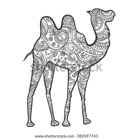 Greeting card with camel. Ornamental of animal made in vector. Design element for decorations. Hand drawn map with camel desert. He lives in the arid region desert, semi-desert and steppe - stock vector