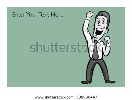 Greeting card with cheerful businessman - personalize your card with a custom text - stock vector
