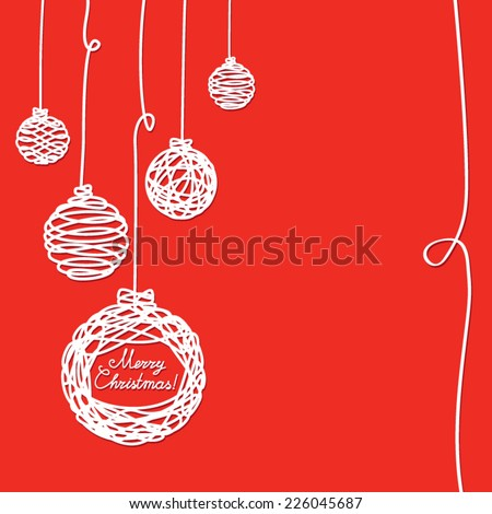 Greeting card with Christmas decorations of white lines on a red background - stock vector