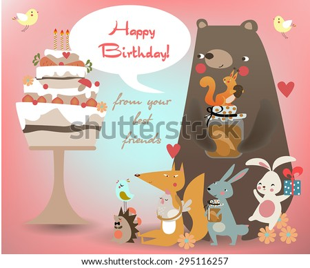 greeting card with cute animals - stock vector