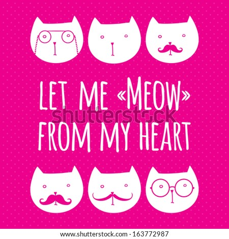 greeting card with cute cats - stock vector