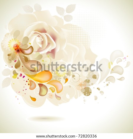 greeting-card with decorative composition of flowers - stock vector