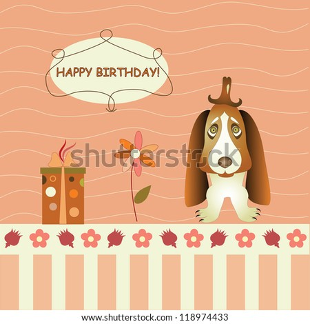 greeting card with dog and gifts - stock vector
