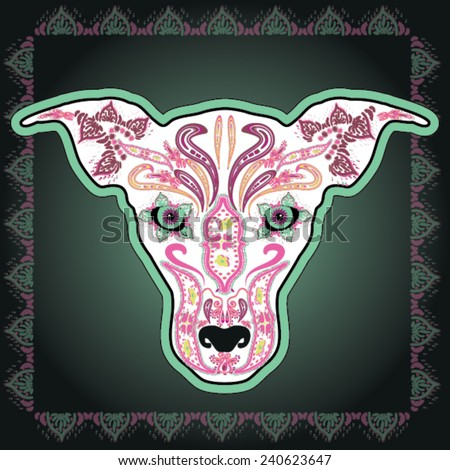Greeting card with dog, skeletons with floral & Ethnic patterns. Colorfull Vector illustration.  - stock vector