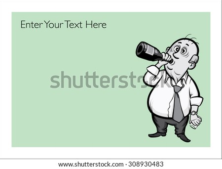 Greeting card with drunk businessman - personalize your card with a custom text - stock vector