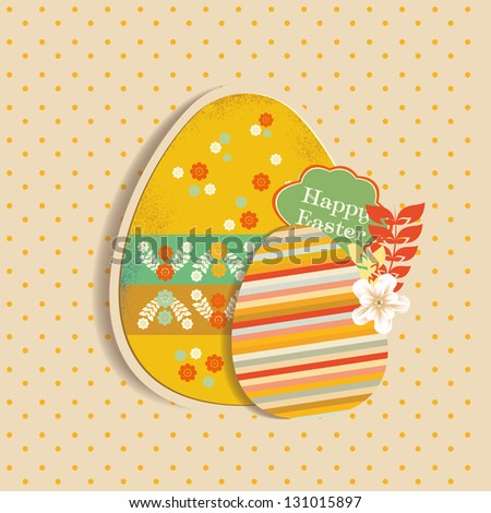 Greeting card with Easter egg symbol - stock vector
