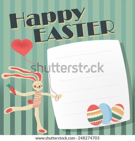 greeting card with Easter. Vector with hand-drawn Bunny and the Easter egg and the words happy Easter. - stock vector