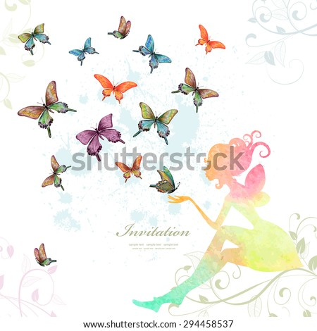 greeting card with fairy with butterflies. watercolor painting. vector illustration - stock vector