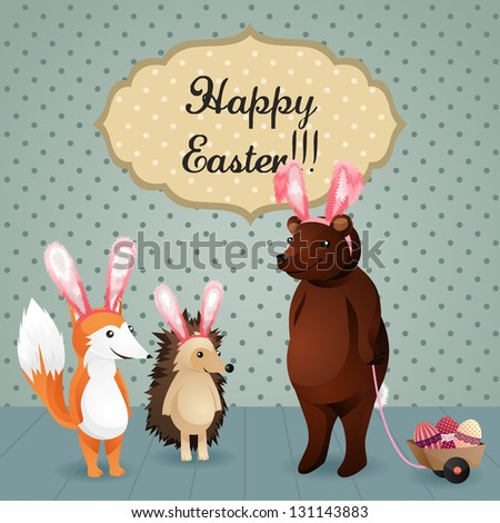 Greeting Card with fox, hedgehog and bear wearing bunny ears and with Easter eggs. Happy Easter lettering. Vector illustration. - stock vector