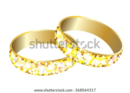Greeting card with gold wedding rings.Happy holiday. - stock vector