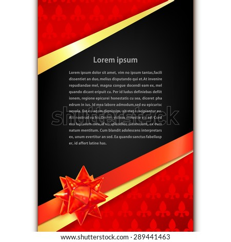 Greeting card with golden ribbon, red bow and black space for text. Vector illustration - stock vector