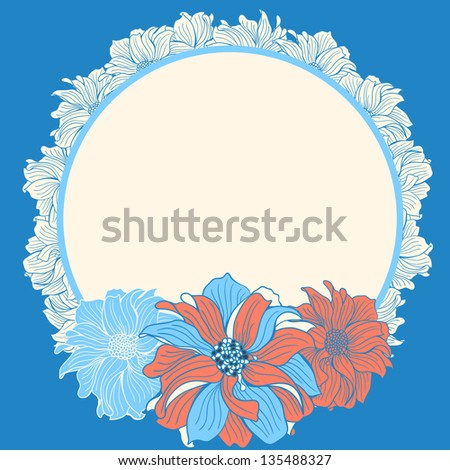 Greeting card with hand-drawn flowers of dahlia, in pink and blue colors - stock vector