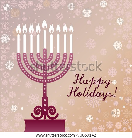 Greeting card with Hanukkah candles and snowflakes - stock vector