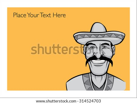 Greeting card with happy mexican man - place your custom text - stock vector