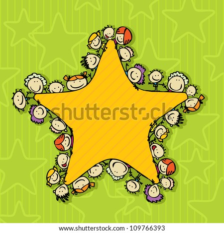 Greeting card with happy winner kids around star - stock vector