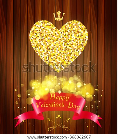 Greeting card with heart of gold. Concept for Valentines Day. - stock vector