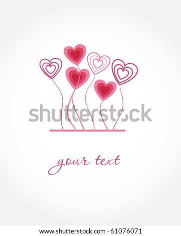 Greeting card with hearts - stock vector