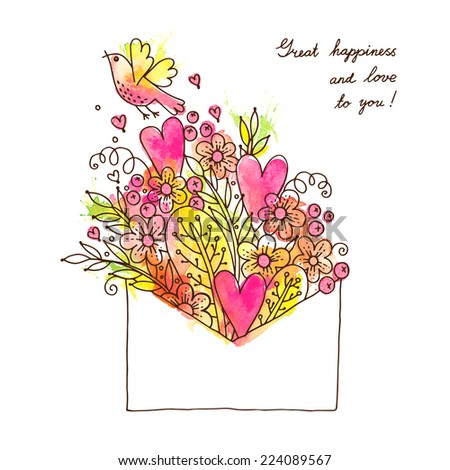 Greeting card with hearts, bird and flowers. Vector illustration. - stock vector