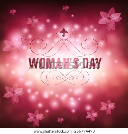 Greeting card with March 8 Womans Day - stock vector