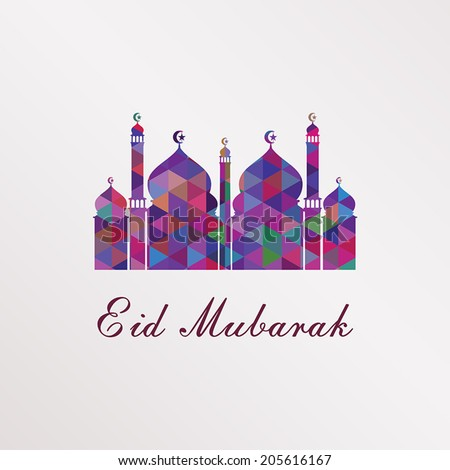 Greeting card with mosque silhouette formed from colorful geometric shapes isolated on white background for holy month of muslim Eid Mubarak. - stock vector