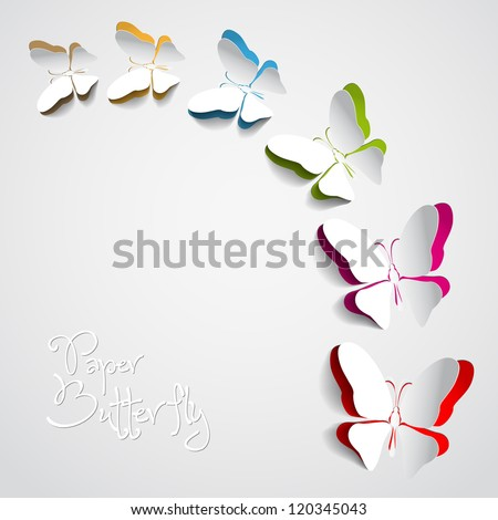 Greeting card with paper butterflies - vector - stock vector