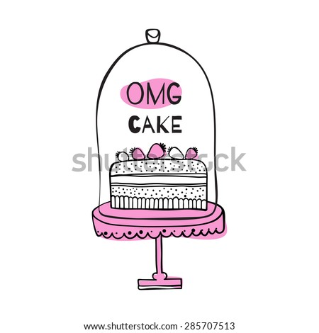 "Greeting card with quote about cakes. ""OMG cake"" - stock vector"