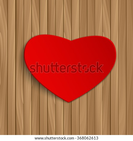 Greeting card with red heart on wooden background. Concept for Valentines Day. - stock vector
