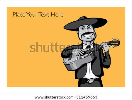 Greeting card with singing mexican mariachi singer with-guitar - personalize your card with a custom text - stock vector