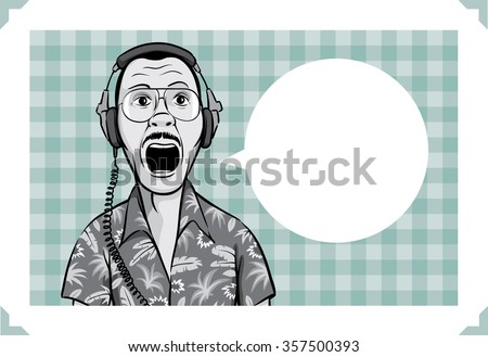 Greeting card with surprised music fan in headphones - stock vector