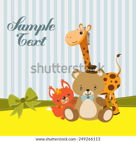 Greeting card with teddy bear, squirrel, and giraffe - stock vector