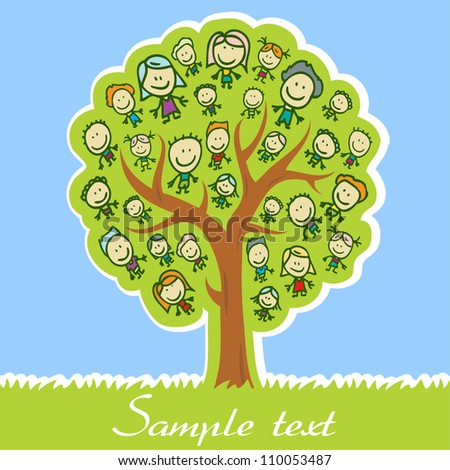 Greeting card with tree of family with kids - stock vector