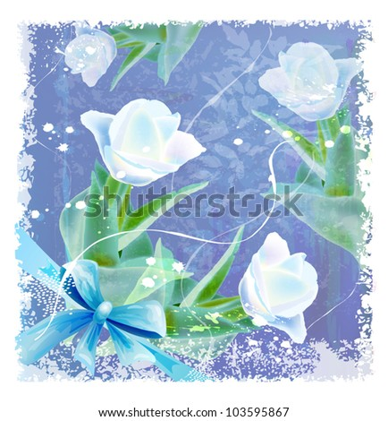 greeting card with tulips and bow - stock vector
