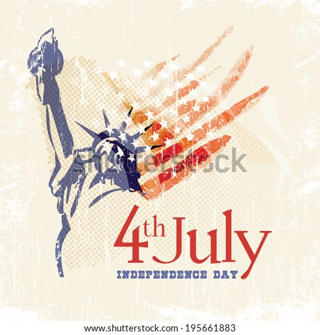 Greeting card with U.S. flag and statue of Liberty. 4th of July. Independence day of United states. - stock vector