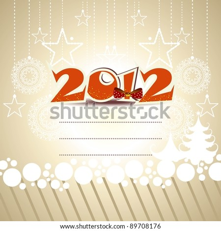 greeting card with  vector elements in orange text  2012 , bow, hanging stars, snowflakes on white circle for New Year & Other occasions. - stock vector