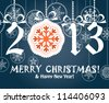 Greeting card with white digits 2012. Merry Christmas and Happy New Year, - stock vector