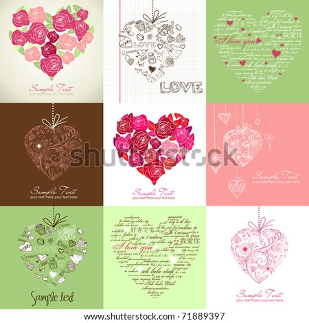 Greeting cards with heart - stock vector