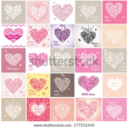Greeting cards with lacy hearts - stock vector