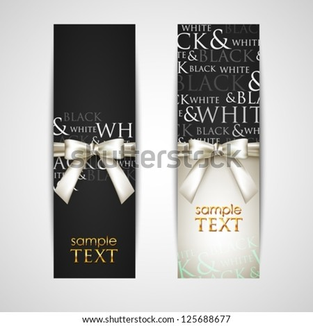 greeting cards with white bows - stock vector