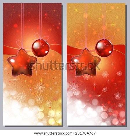 Greeting cards with white ornaments and copy space. - stock vector