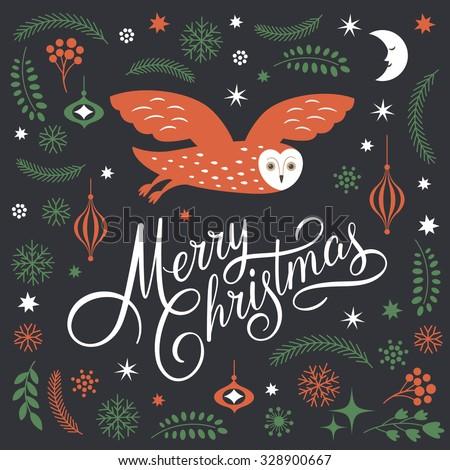 Greeting Christmas card, Merry Christmas Lettering, Christmas Illustration   - stock vector
