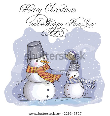 Greeting Christmas card two Snowmans and bird - stock vector