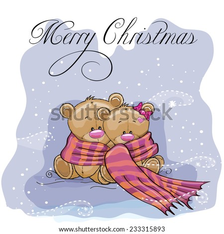 Greeting Christmas card two Teddy Bears wrap up in a scarf - stock vector
