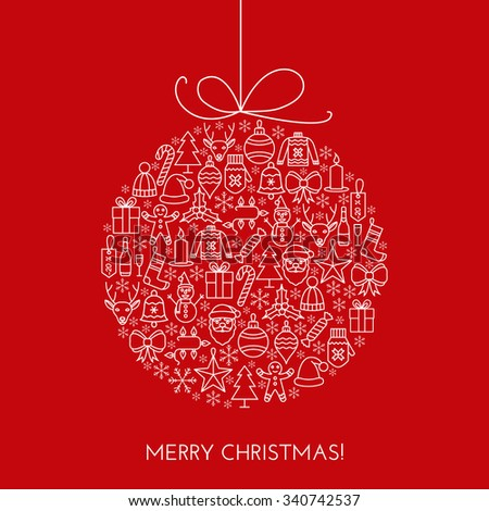 Greeting Christmas card with decor ball made with outline icons. Holiday banner. Vintage poster. - stock vector