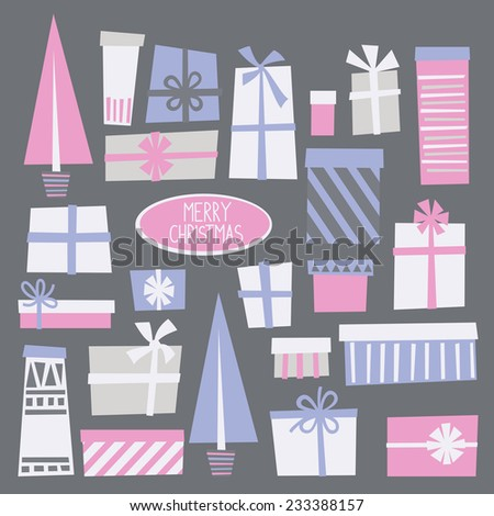 Greeting Christmas card with gift boxes. Vector illustration.  - stock vector