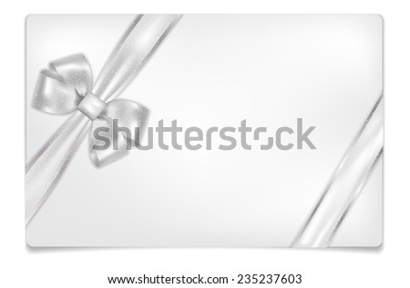 Greeting empty paper card with shadow, silver bow and place for your text - isolated on white background. Vector illustration. - stock vector